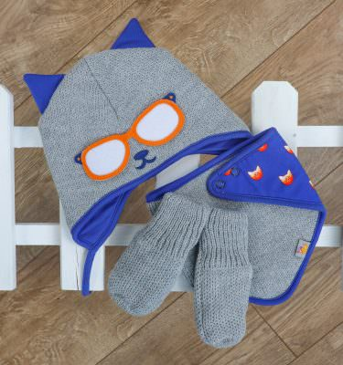 matching knitted baby gift set in grey and blue. Cat Themed.