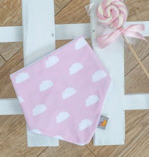 pink and white cloud style bib