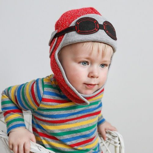 04b6d27cc743d8 Knitted Baby Hat - Pilot Themed - Snowdust Red : My Little Duckling