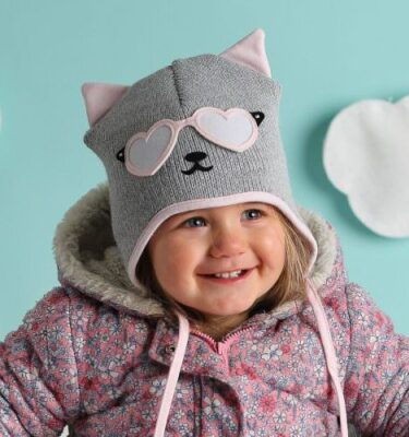 knitted hat-girls kitty cat hat-baby girl hats-baby girl gift sets