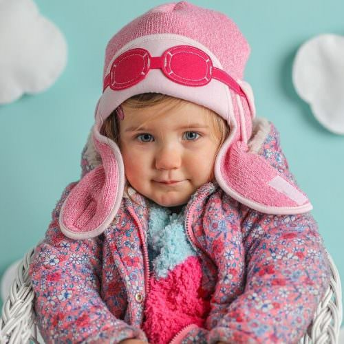 2ecec274a224 Knitted Girls Aviator Hat - Snowdust Pink   My Little Duckling