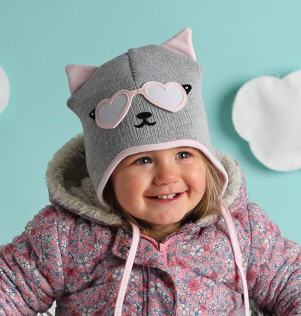 baby girl wearing grey and pink cat hat