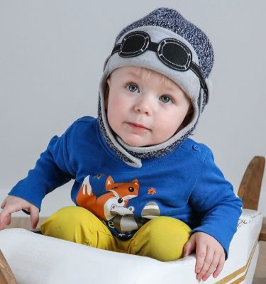 baby boy wearing knitted winter hat