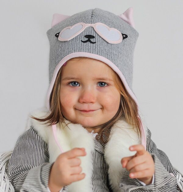 c4d627e3ba Knitted Baby Winter Hat - Cat Themed - Hat Pink   Grey   My Little ...