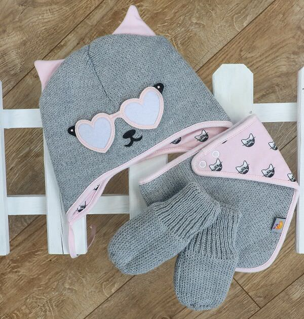 matching knitted baby gift set in grey and pink. Cat Themed.