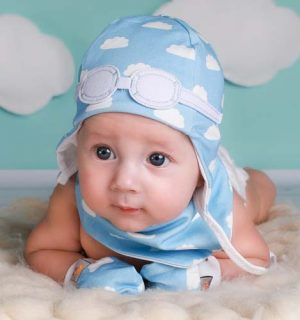 Baby Gift Set of Matching Pilot Hat, Bib and Mittens - Blue Clouds