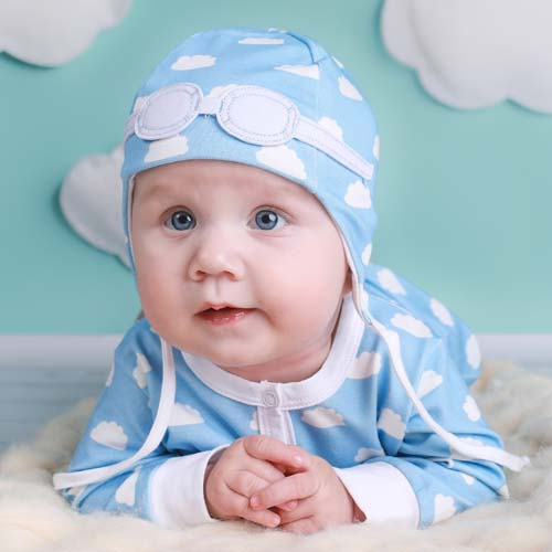 Baby Pilot Hat - Blue Clouds