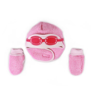 A cute pink baby winter hat