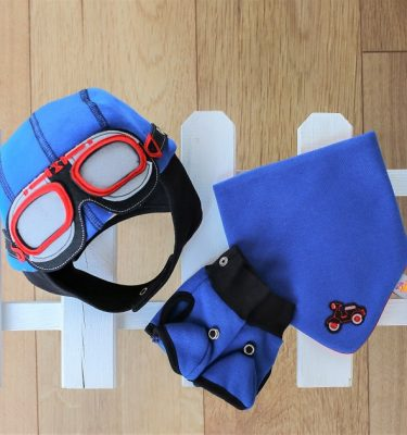 Baby Gift Set - Pilot Themed Hat, Bib and Gloves in blue