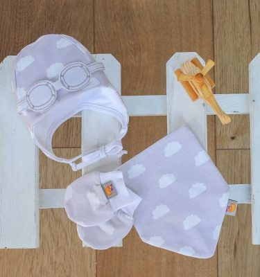 newborn matching gift set, grey cloud bib, gloves and mittens