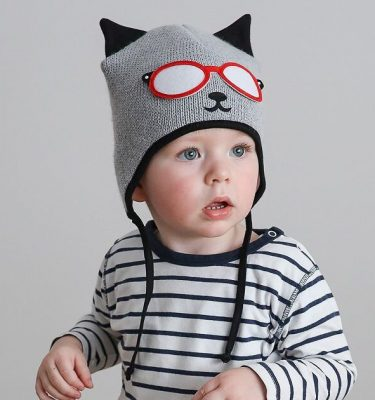 baby boy in blck and grey knitted hat