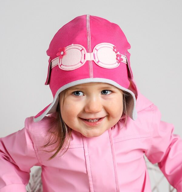 Baby Girl Aviator Hat - Dragonfly Jersey Pink   My Little Duckling e7a0e9ef99a