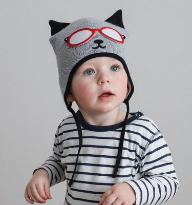baby boy wearing grey and black cat hat