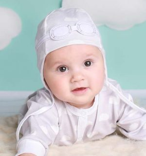Newborn Hat - Grey Clouds Pilot Hat