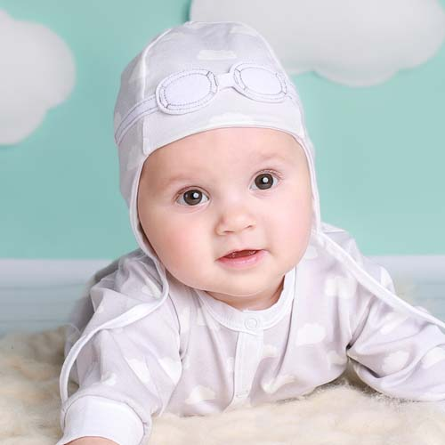 2bd563d6022bd Newborn Unisex Baby Hat - Grey Clouds Pilot Hat   My Little Duckling