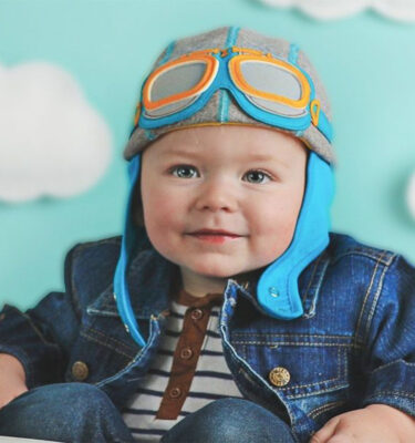 A unisex baby motorcycle hat