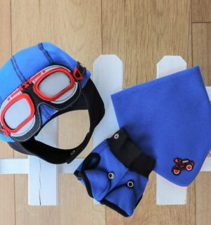 Baby Boy Gift Set of Matching Hat, Bib & Gloves - Driver Blue