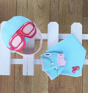 Baby Girl Gift Set - Hat, Bib & Gloves in Aque Blue & Pink