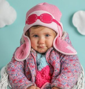 baby girl winter hat-girls aviator hat-baby knitted hats-baby gift sets-pink winter hat