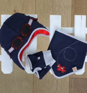 Baby Gift Set - Hat, Bib and Gloves in blue