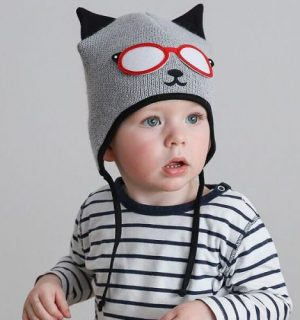 knitted baby wooly hat grey and black