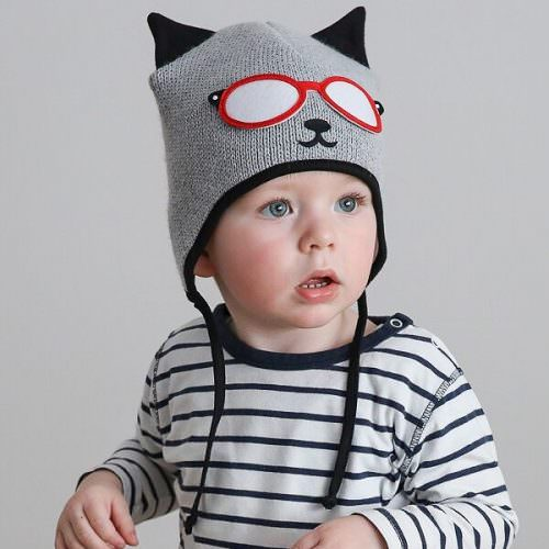 wooly hat-baby cat hat-baby pilot hat-gender neutral baby gifts