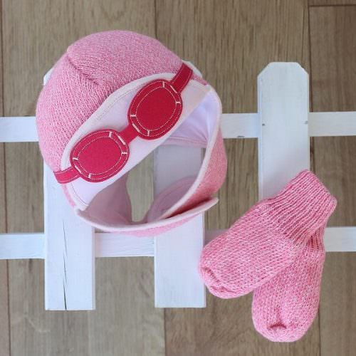Knitted Baby Gift Set - Hat & Gloves in Snowdust Pink