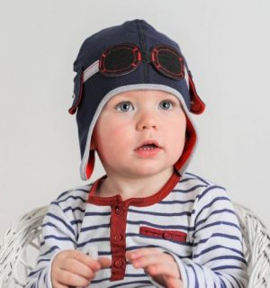 Boys Hats Cute Pilot Hat in Navy Blue With Goggles