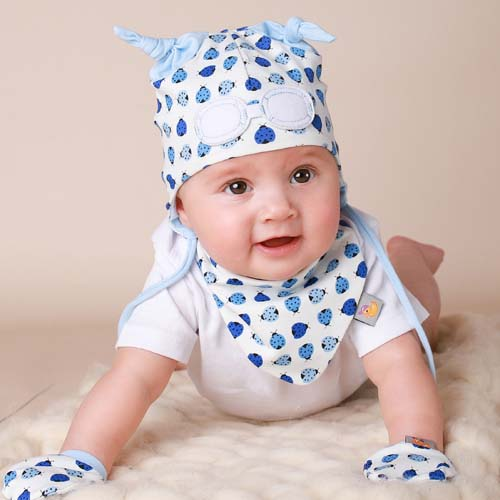 Baby Gift Set of Beanie Hat, Bib and Mittens - Blue Ladybird
