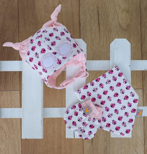 Baby Gift Set - Hat, Bib and Gloves in Pink Ladybird