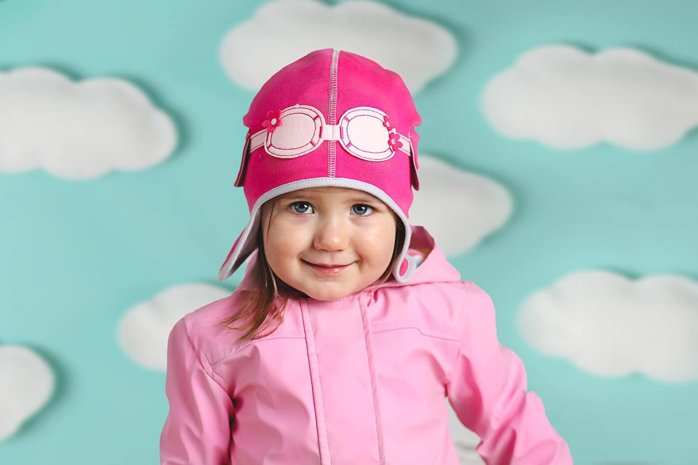 pink pilot baby girls hat