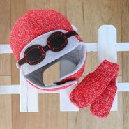 Red knitted baby hat and mittens