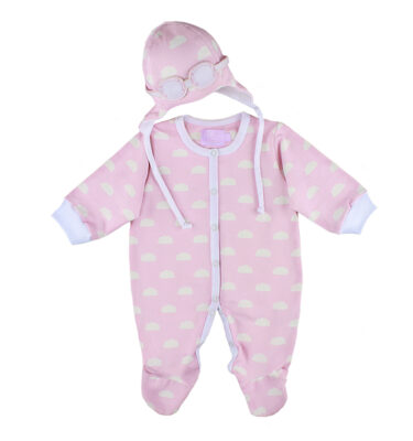 A lovely baby girl sleepsuit and hat