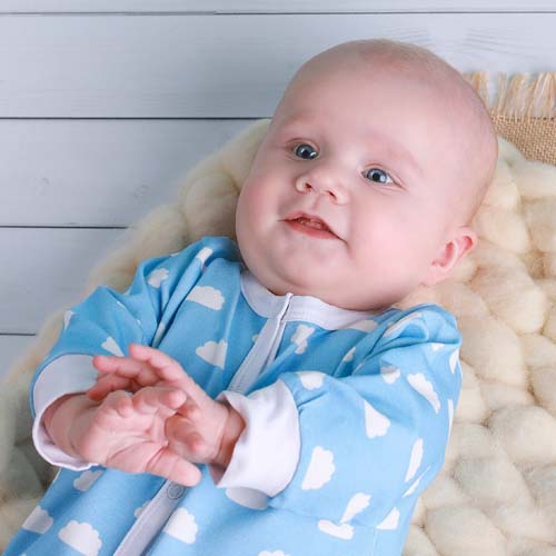 Blue Clouds Baby Sleepsuit