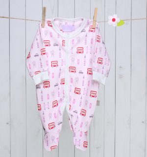 London Bus Baby Sleepsuit - Pink & Red