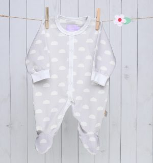 Grey Clouds Baby Sleepsuit
