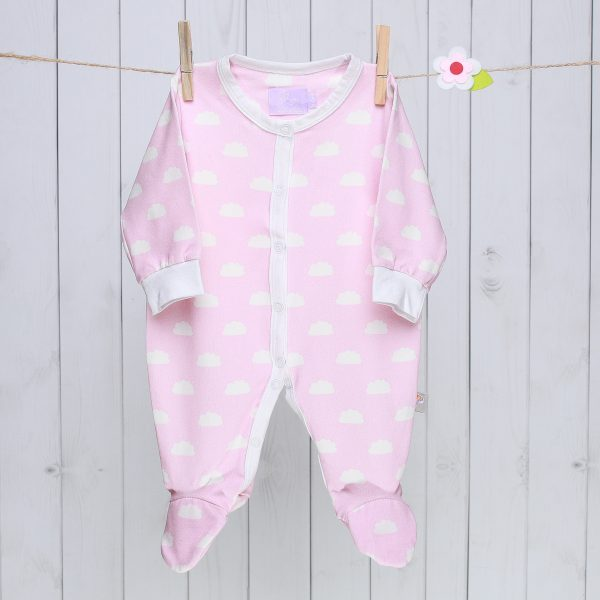 Pink Clouds Baby Sleepsuit