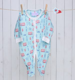 London Bus Baby Sleepsuit - Blue & Red
