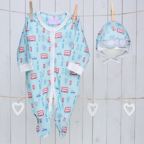 Baby Gift Set of Newborn Hat and Sleepsuit – London Bus Blue & Red