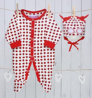 Unisex Baby Gift Set of Beanie Hat and Bodysuit – Red Ladybug