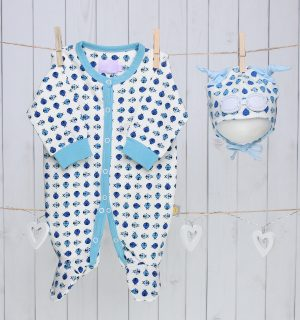 Baby Gift Set of Beanie Hat and Bodysuit – Blue Ladybug