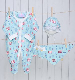 Baby Gift Set of Newborn Hat, Sleepsuit, Bib & Mittens - London Bus Blue & Red