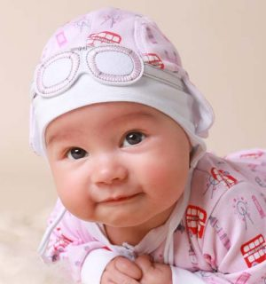Newborn Baby Girl Hat – London Bus Pink & Red
