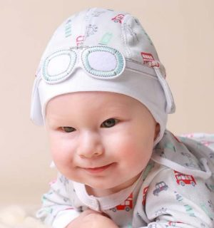 Newborn Unisex Baby Hat – London Bus Grey & Red