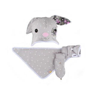 A cute bunny hat with bib and gloves