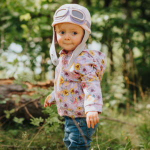 A cute baby girl hat with goggles